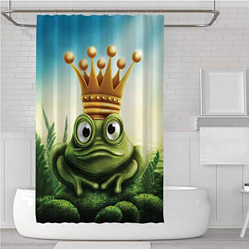 (C COABALLA King Shower Curtain,Frog Prince on Moss Stone with Crown Fairytale Inspired Cartoon Image for Home Hotel,72''W x 75.1''H )