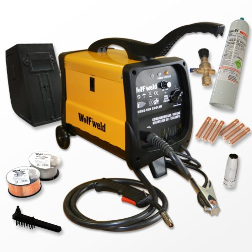Wolf MIG 140 Gas/No Gas Combination Turbo, Smooth DC Mig Welder with Accessory Kit and Wheels