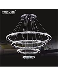 Unique MEEROSEE Crystal Chandeliers Modern LED Ceiling Lights Fixtures Pendant Lighting Dining Room Chandelier Contemporary Adjustable Stainless