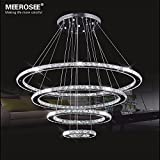 MEEROSEE Crystal Chandeliers Modern LED Ceiling Lights Fixtures Pendant Lighting Dining Room Chandelier Contemporary Adjustable Stainless Steel Cable 4 Rings DIY Design D31.5″+23.6″+15.7″+7.8″ For Sale