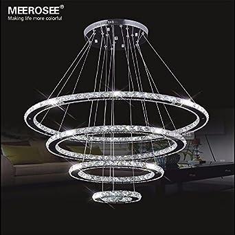 Meerosee crystal chandeliers modern led ceiling lights for Modern pendant lighting for dining room