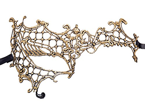 (Flywife Lace Venetian Masquerade Mask Phantom Of The Opera Mask Half Face Phantom Mask (B Gold Phantom Of The)