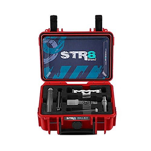 STR8 Brand - Smoking Roll Kit, Watertight, Smellproof, Lock, Perfect Gift, Travel Case, Clipper Lighter, Rolling Tray, Grinder Medtainer, Jtubes, Cones, Roller, Tips - STR8Brand (Fury Red) by STR8 Brand