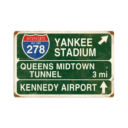 Yankee Stadium Vintage Metal Sign Street Signs Interstate 22 X 16 Steel Not Tin Yankee Stadium Tin
