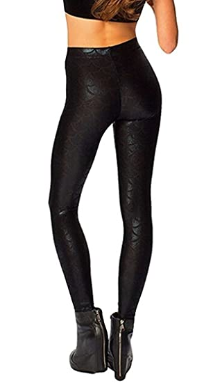 85dd59a0361ae Women Sexy Mermaid Fish Scale Hologram Stretch Soft Shine Leggings (Black)