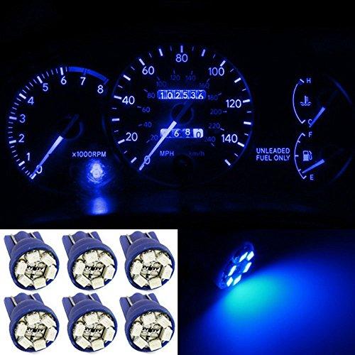 Water & Wood 6x Bright Blue Instrument Speedometer Gauge Cluster 12V T10 Wedge 194 168 LED Dash Light Bulb (Wood Cluster)