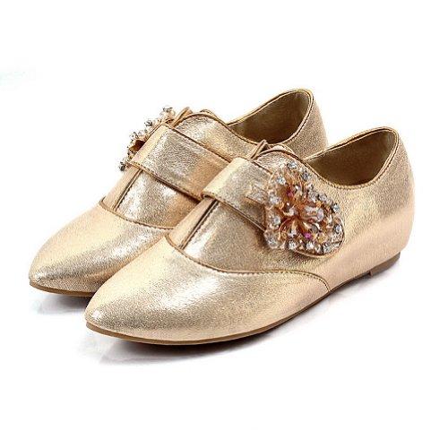 Diamant Med Materiale Gull Spiss Pu Solide Mykt Glass Lukket Jenter Leiligheter Voguezone009 Tå CFXwPzXq
