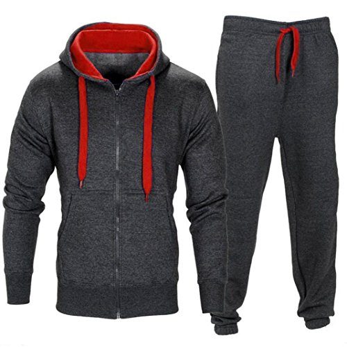 Set! Charberry Men Stretchy Trousers Hooded Coat Jacket Pants Jogging Sports Tracksuit Set (US-L/CN-XL, Deep Gray) ()