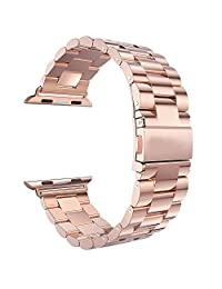 Apple Watch Band 42MM - Peyou® Polished Classic Metal Buckle Stainless Steel Watchband Strap Bracelet For Apple Watch 42MM Series 1/Series 2 2015/2016 All Models, Come with A Tool to Adjust Band Easily - ROSE GOLD