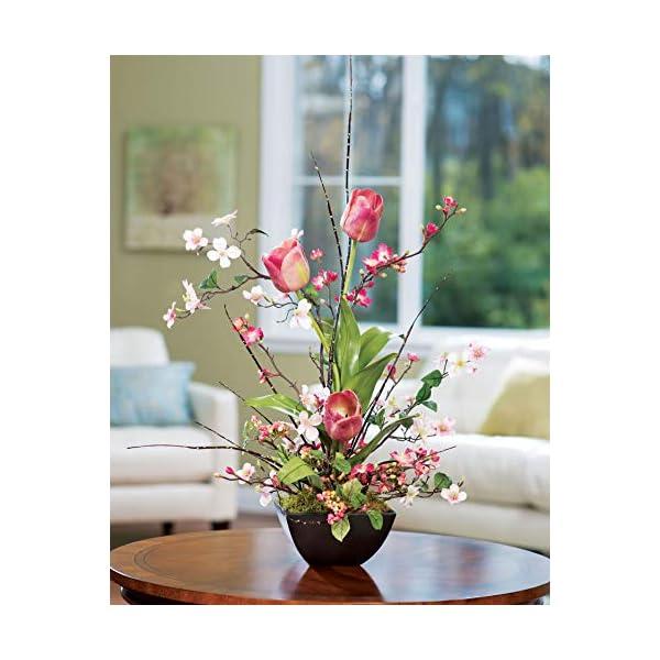 Petals – Cherry Blossom, Dogwood, Tulip Silk Flower Arrangement – Handcrafted – Amazingly Lifelike – 30 x 20 Inches