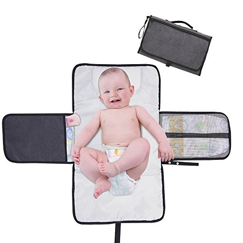 【Upgraded Version】 Portable Diaper Changing Pad – 14″ x 23″ Waterproof Foldable Mat with Head Cushion and Pockets Baby Infants Changing Station for Travel and Outside by LaBold