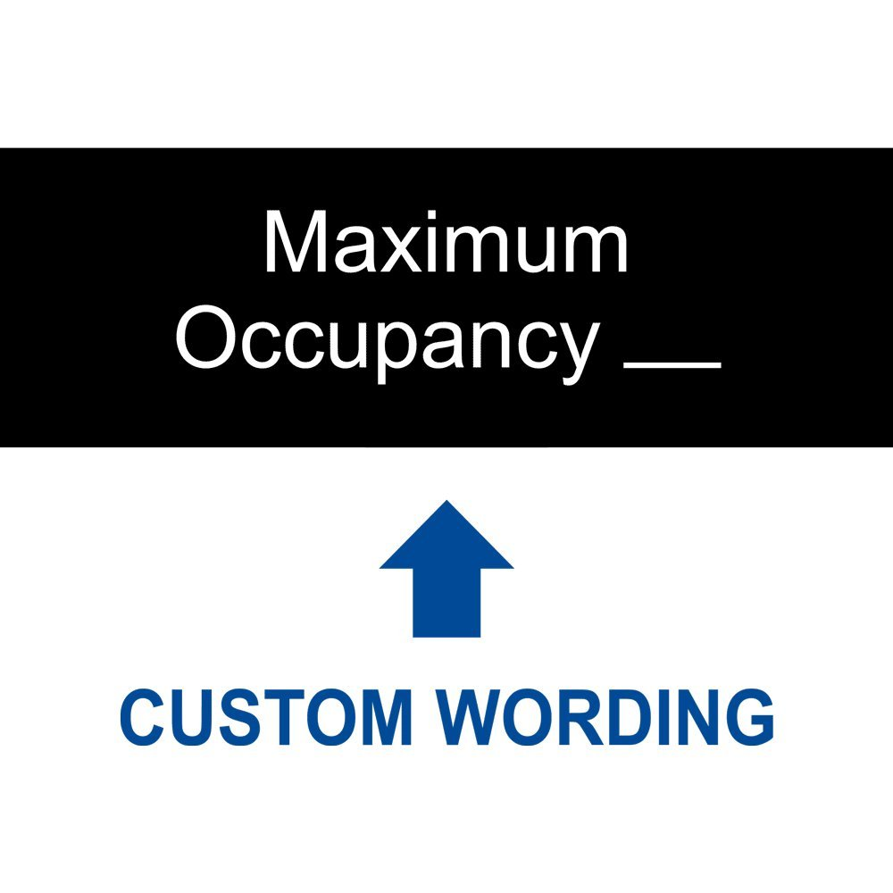 Maximum Occupancy_ [Custom Number] Sign, 8x3 in. Engraved Plastic, White on Black by ComplianceSigns by ComplianceSigns