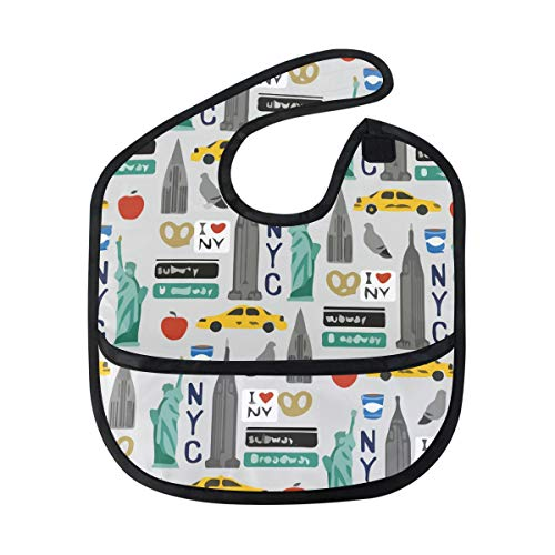 Tourist Travel USA New York City Baby Bibs Waterproof,Washable,Baby Teething Bib 6-24 Months ()