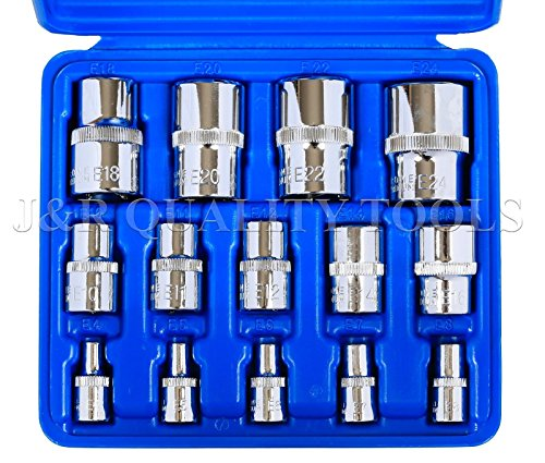 14pc Torx Torq Torque Star Female E-socket Set Bit 1/4