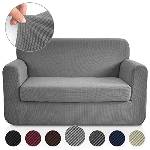 RHF 2 Separate Pieces Loveseat Cover, Slipcovers for Couches and Loveseats with Separate Cushion Cover Jacquard High Stretch Loveseat Slipcover&Couch Cover for Dogs(Loveseat: Light Grey) (What Loveseat Is Cushion A T)