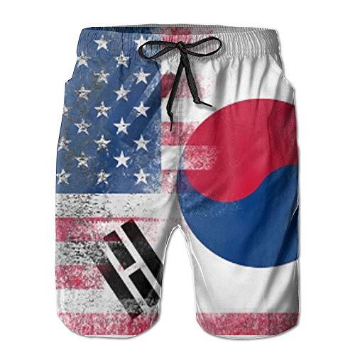 KDSG GSKD Korean American Half South Korea Half America Flag Mens Beach Shorts Swim Trunks Quick Dry Bathing Suits