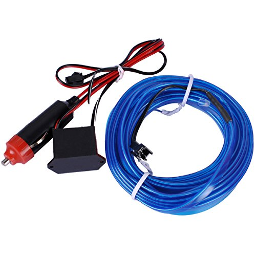 EL Wire, AutoEC 16 Feet 5M Sewing Edge Flexible Neon Light Glow EL Wire Rope Tape Cable Strip LED Neon Lights for Parties Decoration (Blue)