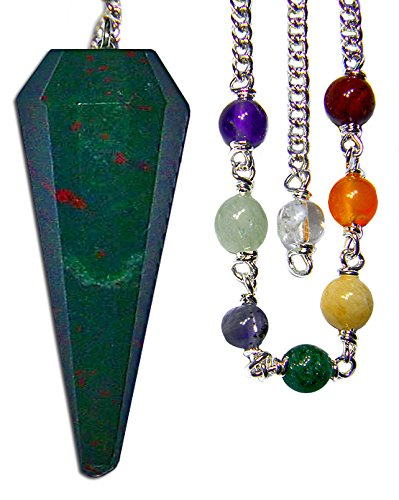 Blood Stone Chakra Pendulum with Satin Bag and Instruction Leaflet for Divination / Dowsing Tool (Bloodstone Pendulum)