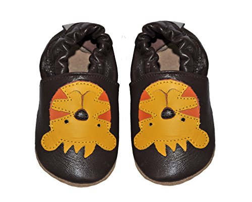 Tipsie Toes Soft Sole Baby Girls Boys Leather Shoes Brown - Little Tiger (0-6 Month (108))