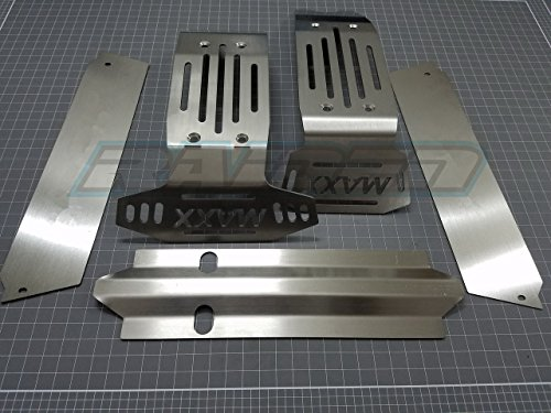 Skid Plate Maxx Rear (Raidenracing Stainless Steel Chassis Armor Front & Rear Skid Plate 5pcs Hollow Version for Traxxxas X-Maxxx 6S 8S)