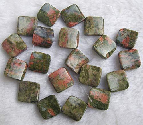 Calvas 16mm Natural Stones Wave Diagonal Square Loose Beads 15.5