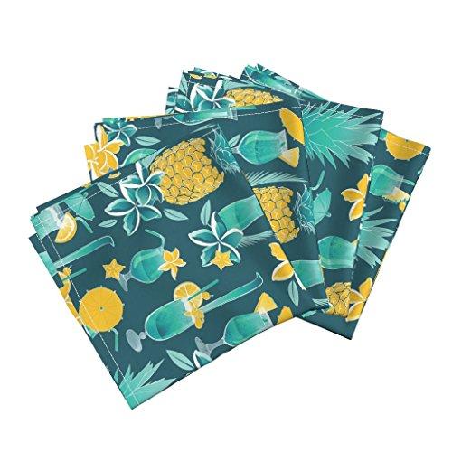 Hawaii Waikiki Pineapples Umbrellas Drinks Plumeria Blue Hawaii Linen Cotton Dinner Napkins Blue Hawaiian Sweetness 2 by Selmacardoso Set of 4 Dinner Napkins by Roostery