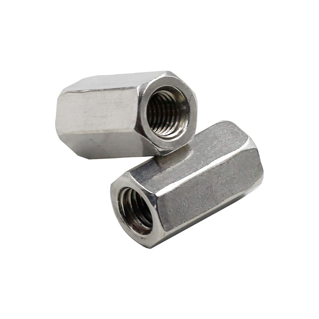 TOUHIA 8pcs M8 X 1.25-Pitch 24mm Length Metric Hex Coupling Nut 304 Stainless Steel Rod Coupling Nuts