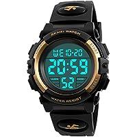 Kid Watch 50M Waterproof Sport LED Alarm Stopwatch Digital Child Wristwatch for Boy Girl Gold