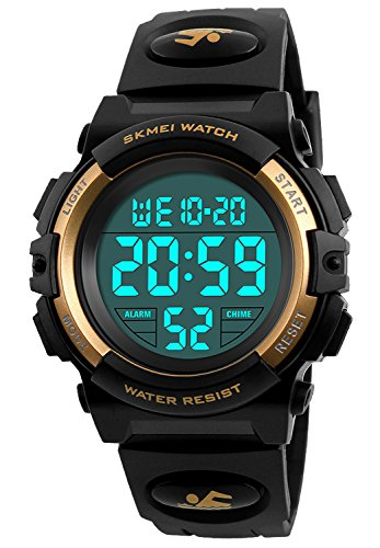 Watch Gold Transparent (Kid Watch 50M Waterproof Sport LED Alarm Stopwatch Digital Child Wristwatch for Boy Girl Gold)