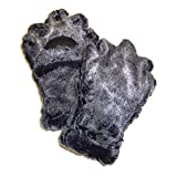 BearHands Sumptuous Faux Fur Mittens - with handy flap opening for when fingers are needed! (Adult Large) - Grey/Black