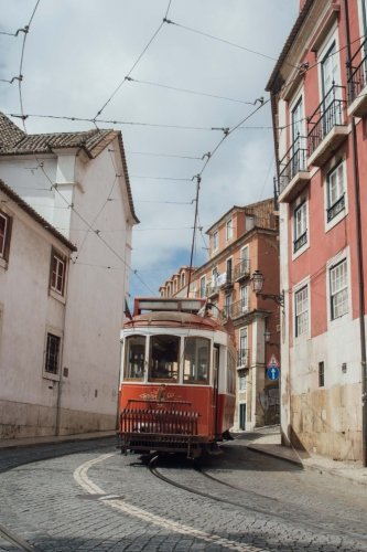 (A Street Car in a  Narrow Alley in Lisbon, Portugal Journal: Take Notes, Write Down Memories in this 150 Page Lined Journal)