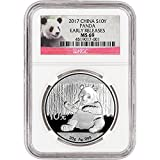#6: 2017 CN China Silver Panda (30 g) Early Releases Red Panda Label 10 Yuan MS69 NGC