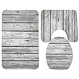 KRWHTS Bath Mat,Wood,Tree Stump Bathroom Carpet Rug,Non-Slip 3 Piece Bathroom Mat Set (30)