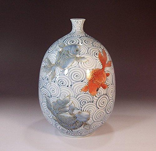 有田焼伊万里焼の陶器花瓶金魚絵|贈答品|ギフト|記念品|贈り物|陶芸家 藤井錦彩 B00LWN0MSY