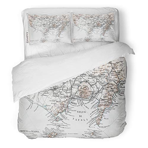 Semtomn Decor Duvet Cover Set Twin Size Vintage Map of Naples Napoli Surroundings at The End 3 Piece Brushed Microfiber Fabric Print Bedding Set Cover]()
