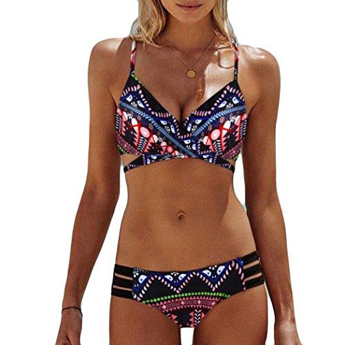 Tsmile Clearanceღwomen Bikini Set❤️Hot✿Summer Bohemia Push-up/Padded{Bra}Beachwear Bikini Set/Swimsuit/Swimwear (Red, M)