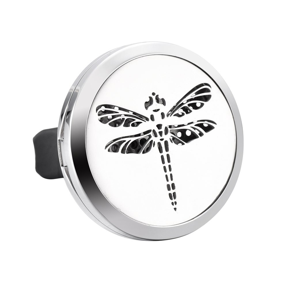 316L Stainless Steel Essential Oil Diffuser Locket Car Rubber Clip Aromatherapy Jewelry Constanlife Jewelry 123-S1