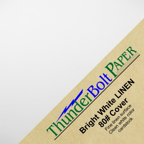 """100 Bright White Linen 80# Cover Paper Sheets - 4"""" X 4"""" (4X4 Inches) Small Square Card Size - 80 lb/pound Card Weight - Fine Linen Textured Finish - Deep Dye Quality Cardstock"""