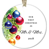 """Marriage Christmas Ornament 2018, Our First Christmas as Mr & Mrs, Married Man & Women 1st Xmas Together Wedding Present Colorful Ceramic 3"""" Flat Circle Porcelain with Gold Ribbon & Free Gift Box"""