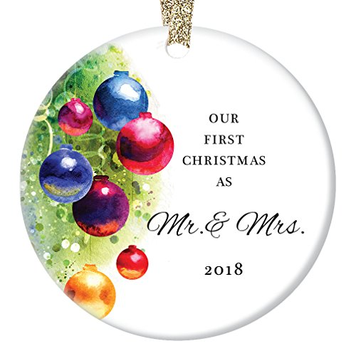 Marriage Christmas Ornament 2018, Our First Christmas as Mr & Mrs, Married Man & Women 1st Xmas Together Wedding Present Colorful Ceramic 3