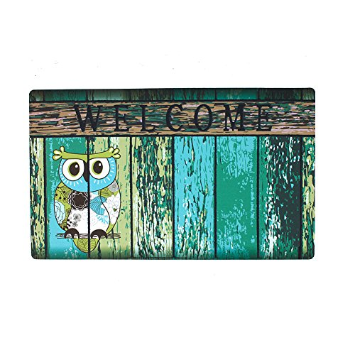 Welcome Doormat, Entrance Mat Floor Mat Rug for Indoor Outdoor Front Door with Non-Slip Rubber Backing, Printing Door Mat with Owl Pattern, 17''WX29''L (Owl)