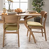 Lucille Green Tea Fabric/ Oak Finish Dining Chair (Set of 2)