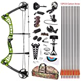 Cheap Leader Accessories Compound Bow 30-55lbs Archery Hunting Equipment with Max Speed 296fps (Green/Black With Full Accessories)