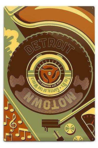 Lantern Press Detroit, Michigan - Motown and Motor City (12x18 Aluminum Wall Sign, Wall Decor Ready to Hang)