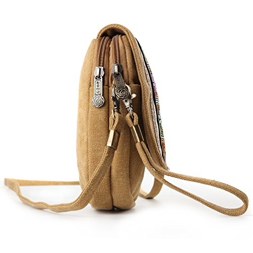 Cell for Goodhan Coin Girls Basic A001 Size Embroidery Purse Women Canvas Bag Crossbody phone Yellow Pouch Camel qIzrIBwx