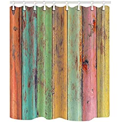 NYMB Vintage Colorful Wallpaper Artwork Painted on Wood Shower Curtain 69X70 inches Mildew Resistant Polyester Fabric Bathroom Fantastic Decorations Bath Curtains Hooks Included (Multi10)