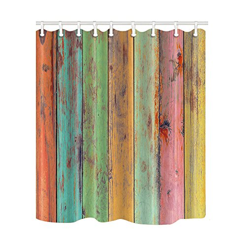 NYMB Vintage Colorful Wallpaper Artwork Painted on Wood Shower Curtain 69X70 inches Mildew Resistant Polyester Fabric Bathroom Fantastic Decorations Bath Curtains Hooks Included (Multi10) (Various Curtain Shower)
