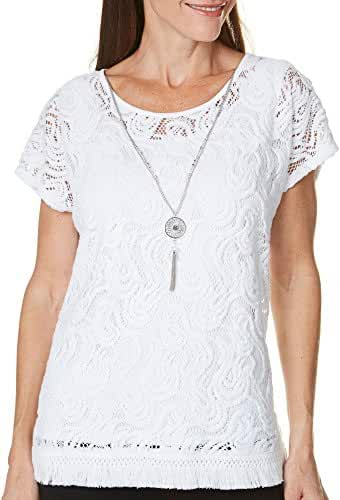 Alfred Dunner Petite Cable Beach Solid Lace Top