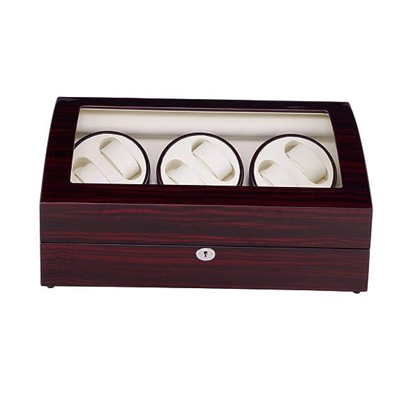 SHOUBIAOHE Cajas giratorias Versión 6 + 7 Relojes Automático Reloj Winder Box Carrete Winder Motor con 5 Modos de Control Bobina de Madera Bobina: ...