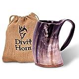 Divit Genuine Viking Drinking Horn Mug | Authentic Medieval Beer Horn Tankard | 24oz capacity | Highest quality horn Cup/Stein. (Original, Polished)